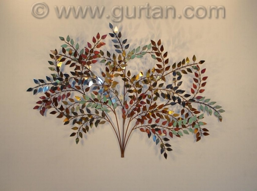 Branches metal wall art metal wall sculpture home decor for Metal leaf wall art