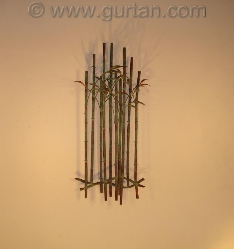 Botanical metal wall art metal wall sculpture home decor for Bamboo wall art