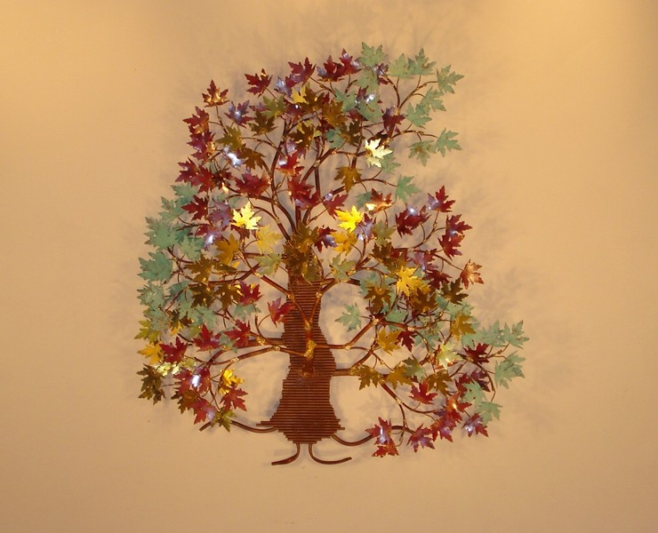 Autumn Leaves Tree Metal Wall Decor brass and copper leaves