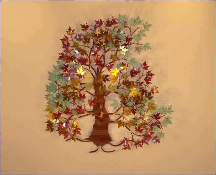 Autumn Leaves Tree Metal Wall Art Decor Indoor Single