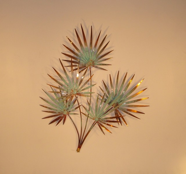 Chinese Palm Copper Outdoor Metal Wall Decor