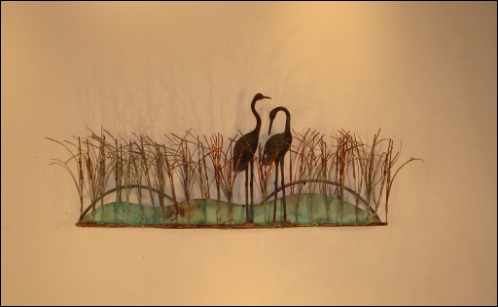 Cranes Birds Wall Decor around metal swamp bushes