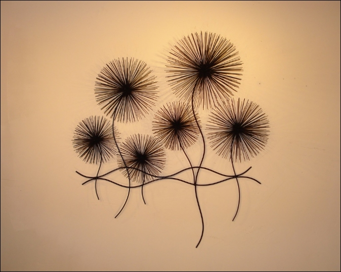 Dandelions Contemporary Metal Wall Art Decor Black  Indoor Single