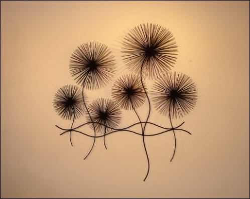Dandelions Contemporary Wall Art with abstract metal puffs