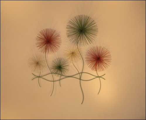 Dandelions Color Contemporary Metal Wall Art with abstract reflecton