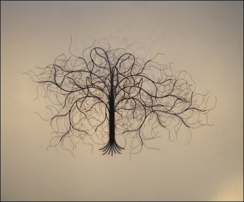 December Tree Metal Wall Sculpture with curly wire leaves