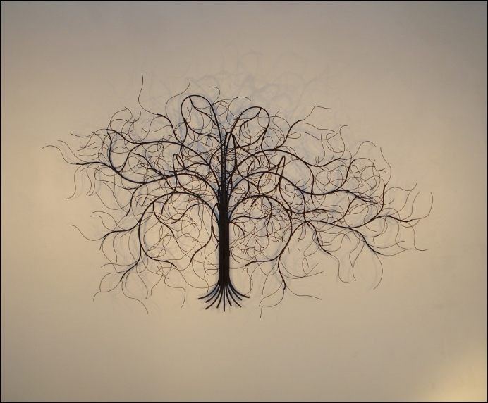 December Tree Black Metal Wall Art Decor Indoor Single
