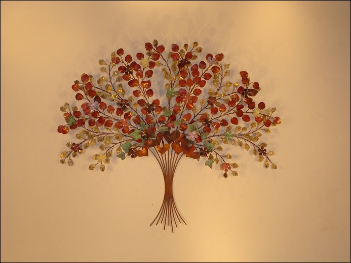 French Bouquet Metal Wall Sculpture Art Indoor Single