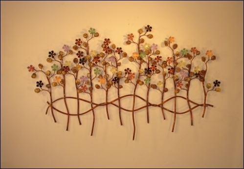 Garden of Eden Metal Wall Decor with colorfull flowers