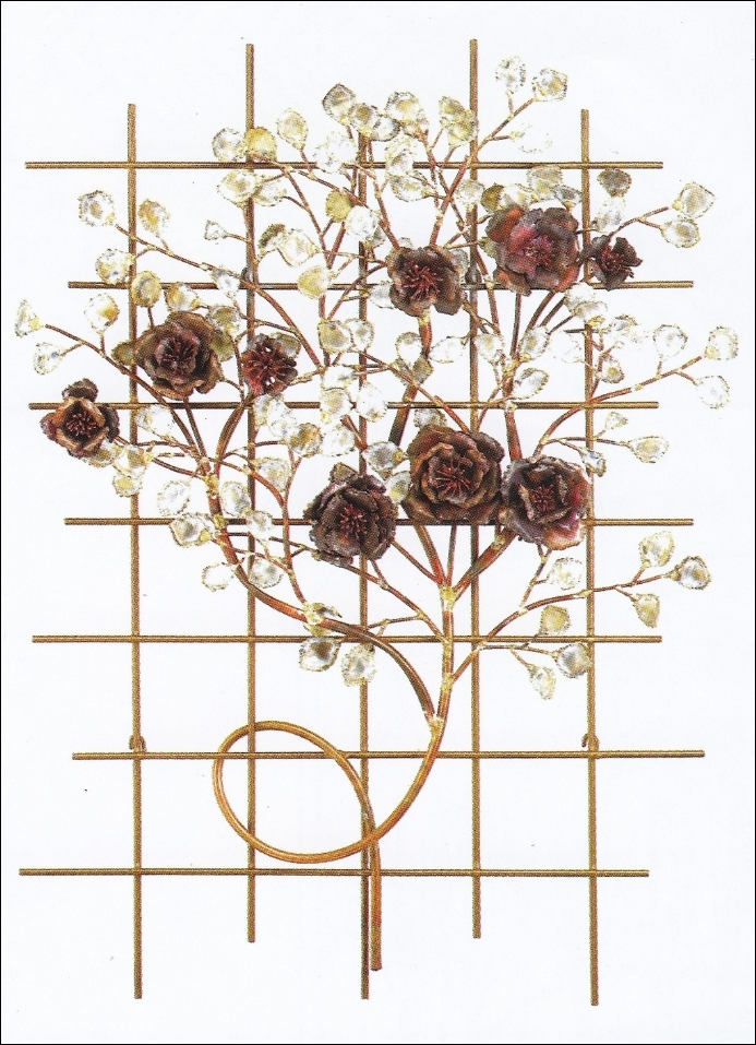 Italian Rose Garden Metal Wall Sculpture Art Indoor Single
