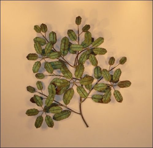 Magnolia Metal Wall Art with large patina leaves