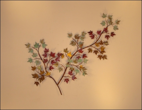 Maple Leaves Wall Art shades reflecting metal to the wall