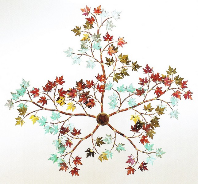 Maple Branch Wall Decor with green patina leaves