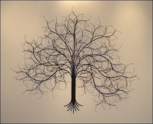 March Tree Metal Wall Art with reflections