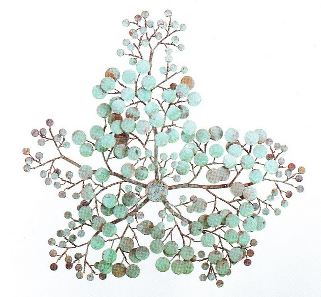 Money Branch Metal Wall Sculpture with round patina leaves