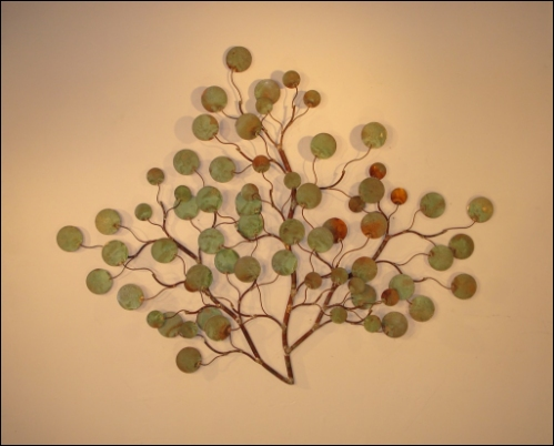 Money Plant Wall Sculpture made of round copper leaves