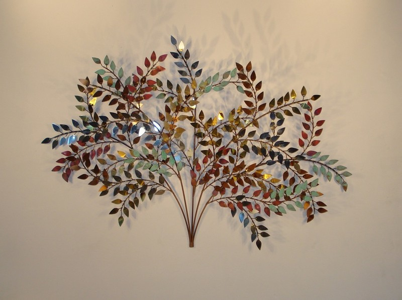 October Branch Wall Sculpture with brass, copper, steel leaves