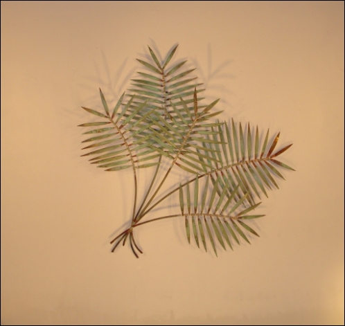 Tropical Palm Branch Copper Metal Wall Sculpture patina finish