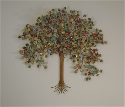 Spring Blossoms Metal Tree Wall Art with colored flowers