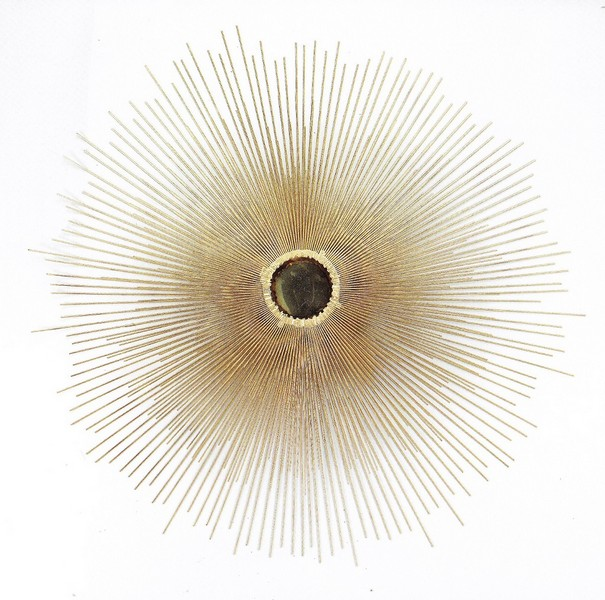 Sunburst Contemporary Abstact Metal Art in gold color