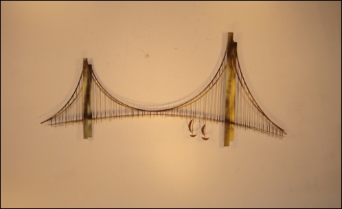 Suspension Bridge Contemporary Wall Art with metal abstract boats