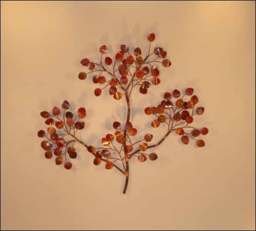 Tropicana Copper Wall Art with tropical copper leaves