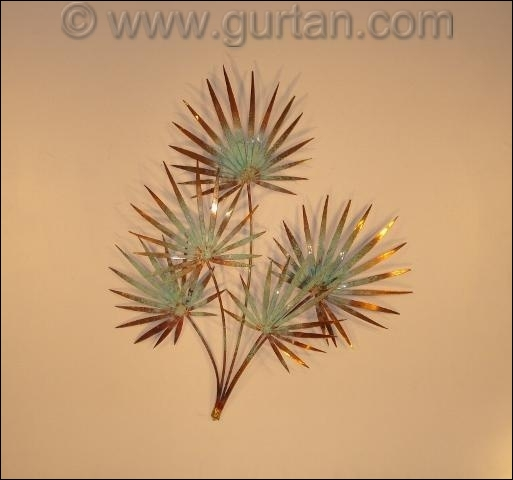 Chinese Palm Copper Outdoor Metal Wall Decor Single