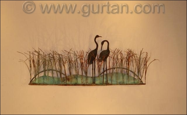 Cranes Birds Metal Wall Sculpture Outdoor Single