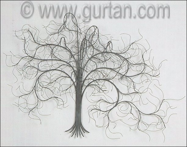 December Tree Metal Wall Sculpture Painted in Gray