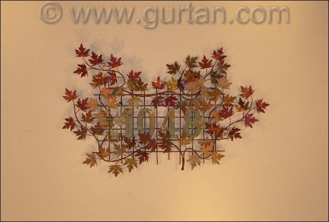 House Numbers Metal Wall Art made of maple leaves