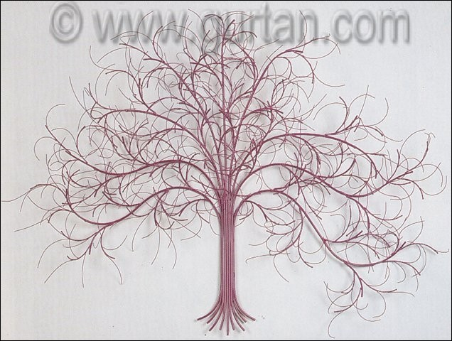 March Tree Metal Wall Decor in Mauve Color