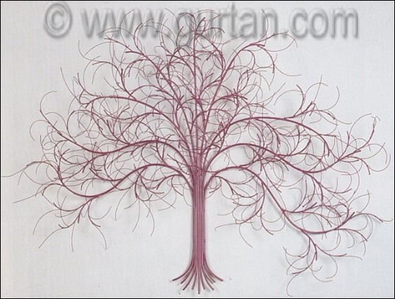 Custom March Tree Metal Wall Decor in Mauve Color