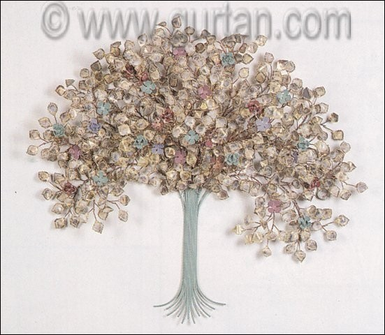 Spring Blossoms Metal Wall Sculpture in Green Color