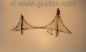 Suspension Bridge Abstract Metal Wall Sculpture Indoor